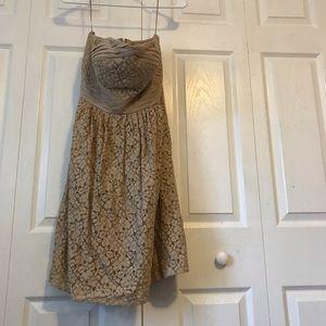 Lace strapless tan dress